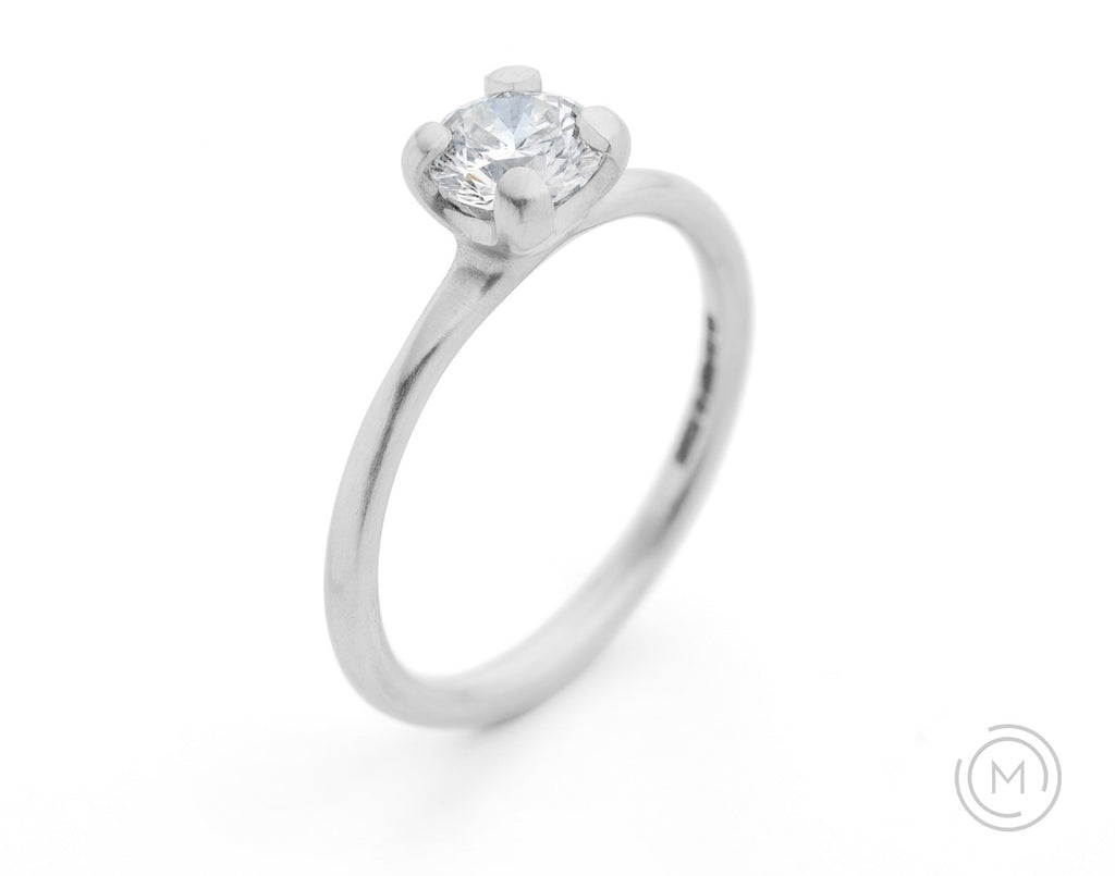 Contemporary white diamond engagement ring