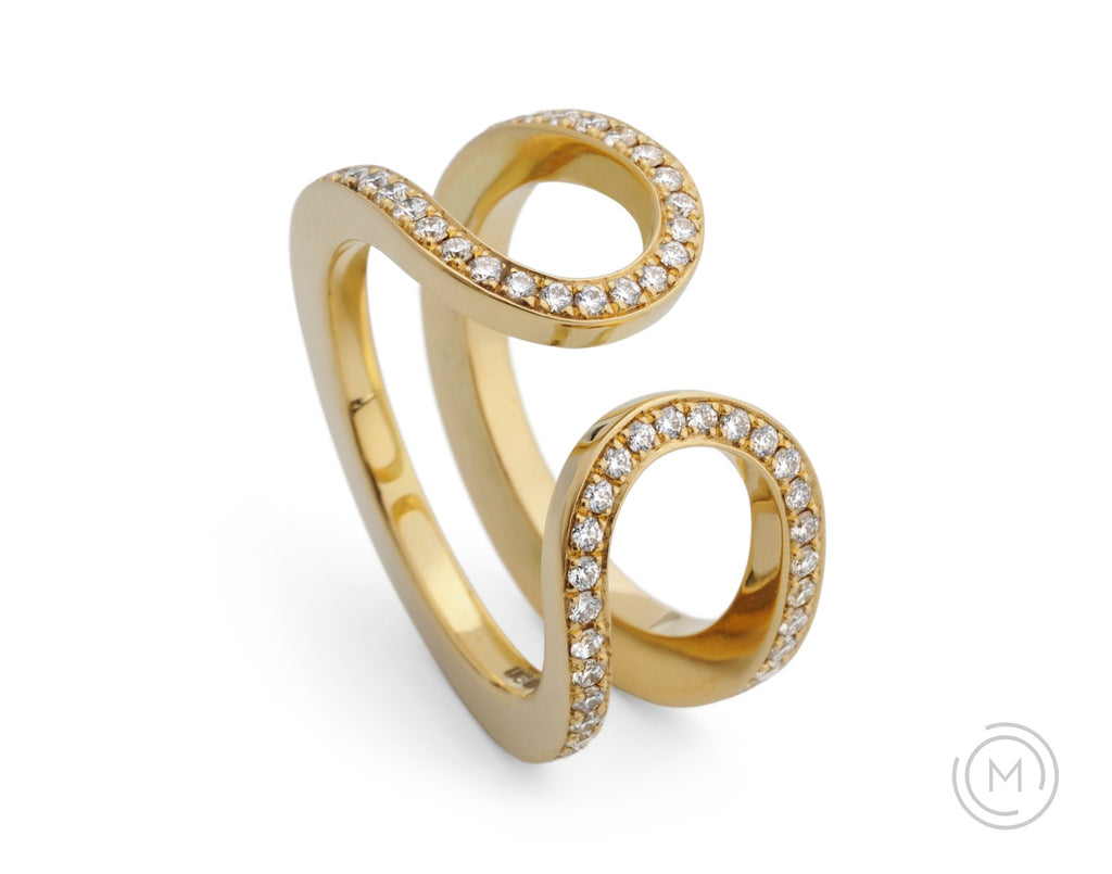 Yellow gold open loop all-in-one engagement and wedding ring