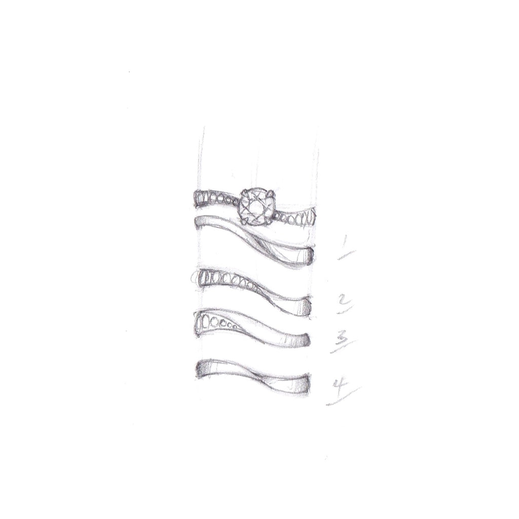 fitted band options for s-curve engagement ring.