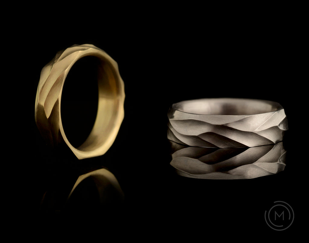 'Dune' hand-carved gold and platinum men's wedding rings