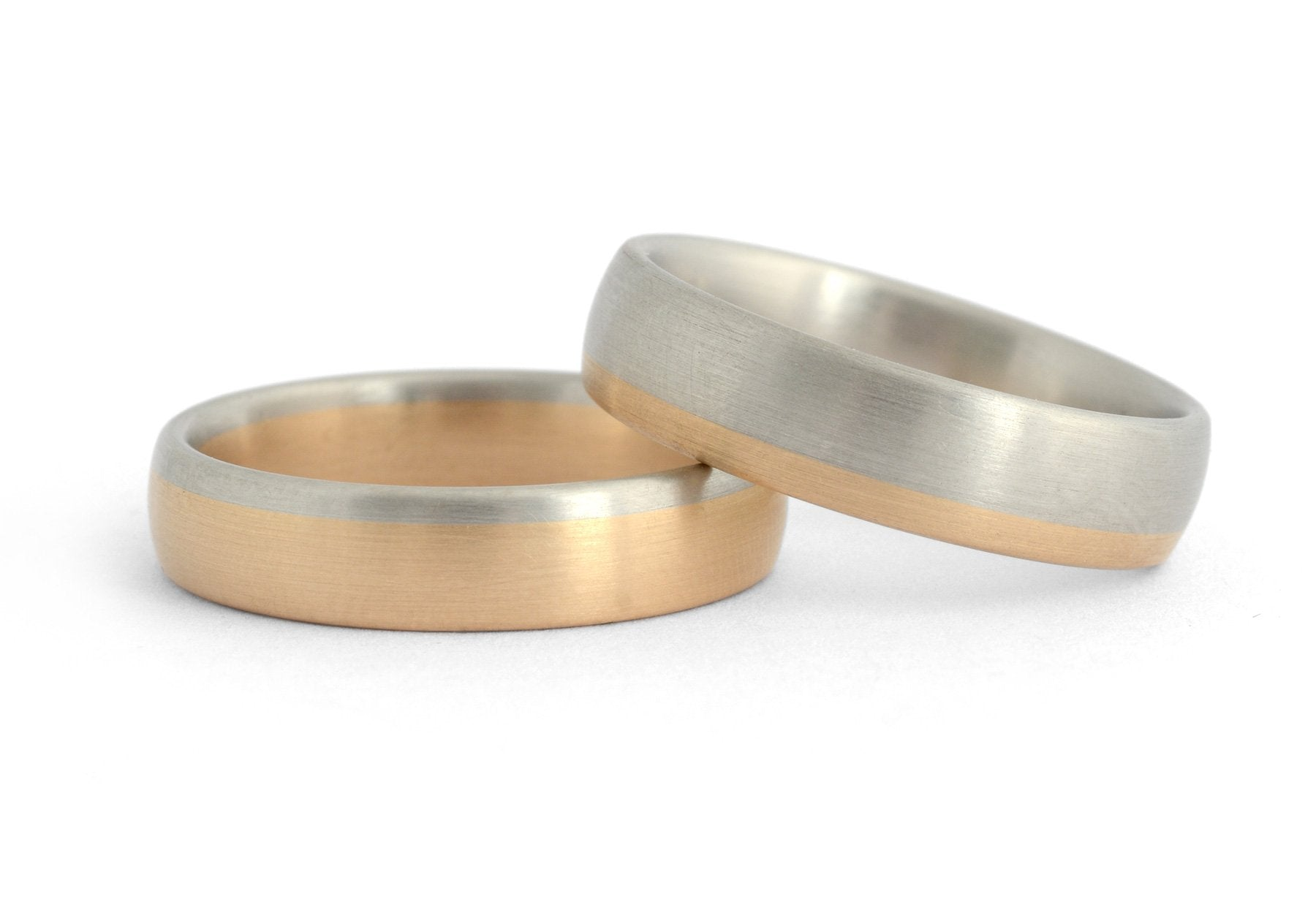 Mixed metal men's wedding bands in 18 carat rose and white gold