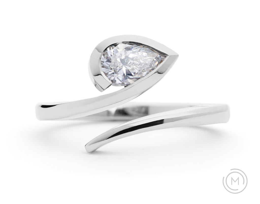 'Twist' modern engagement ring with pear white diamond