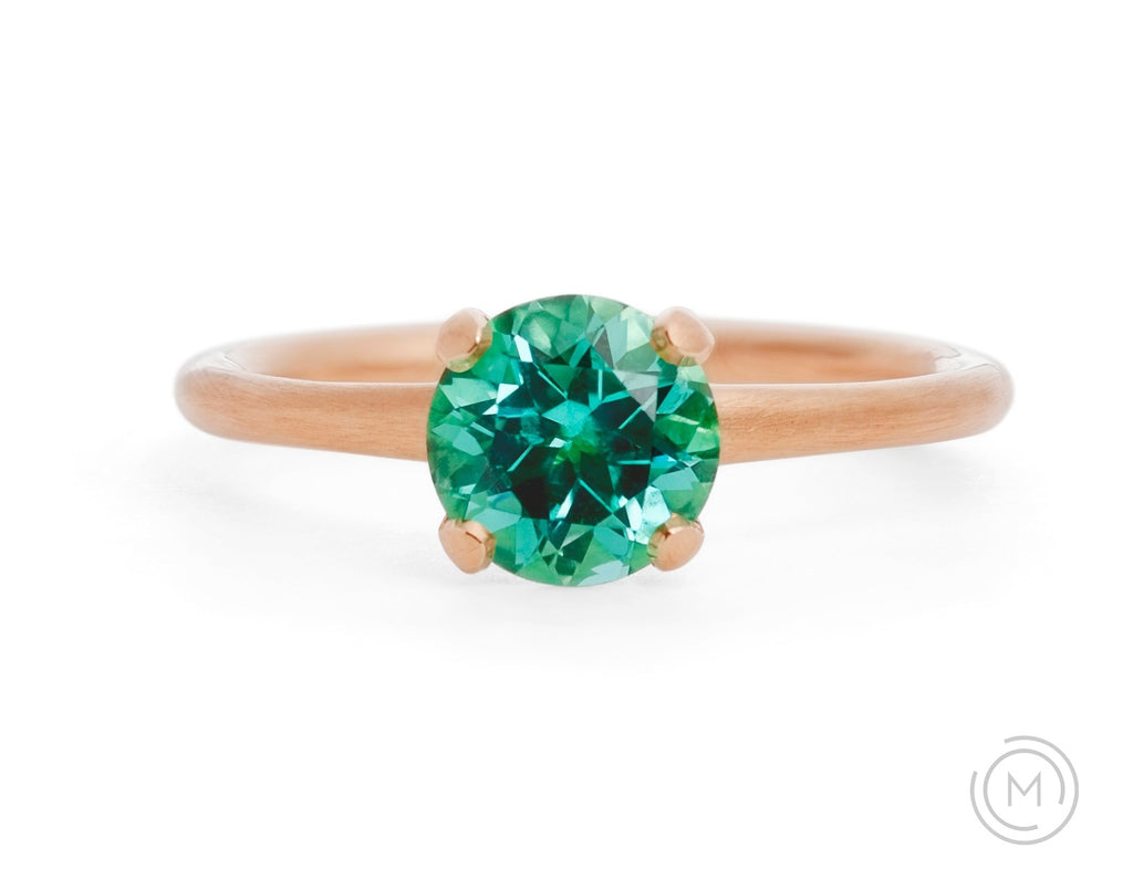 4-claw rose gold and paraiba tourmaline engagement ring