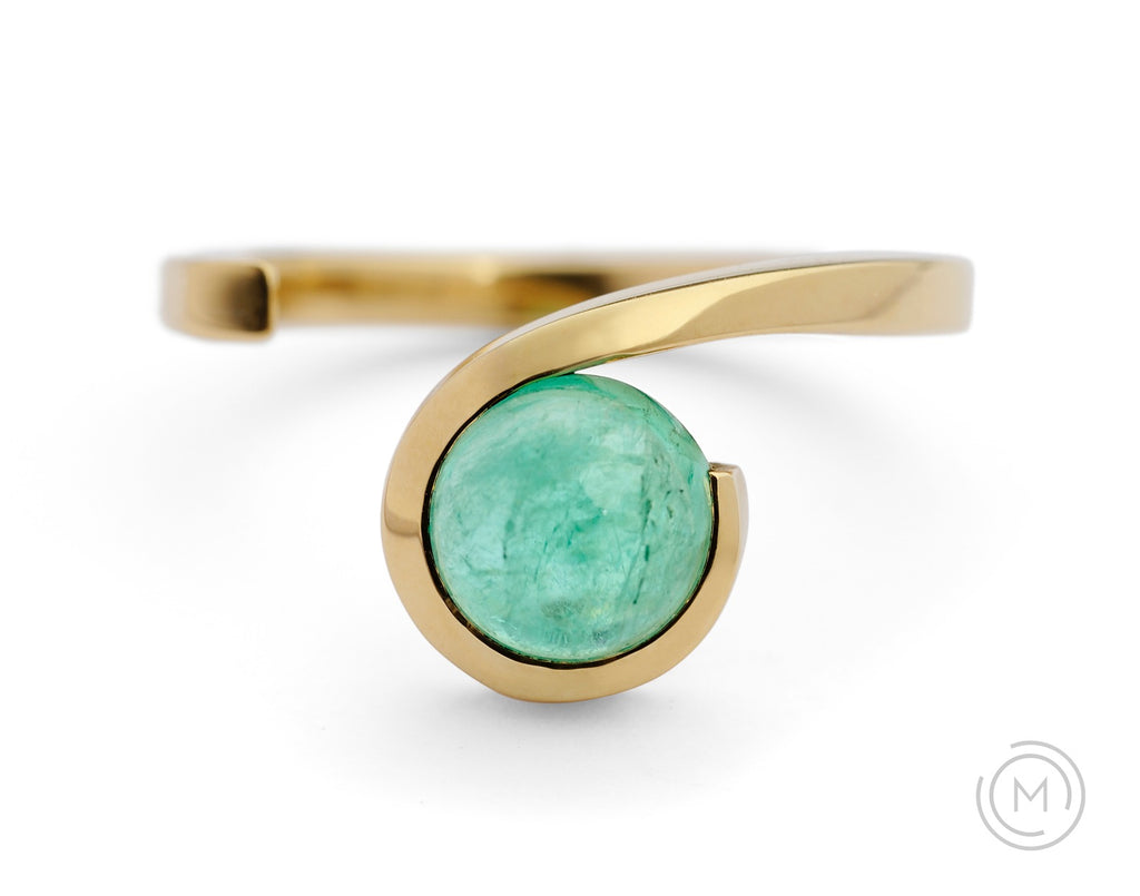 Yellow gold and paraiba tourmaline Twist engagement ring