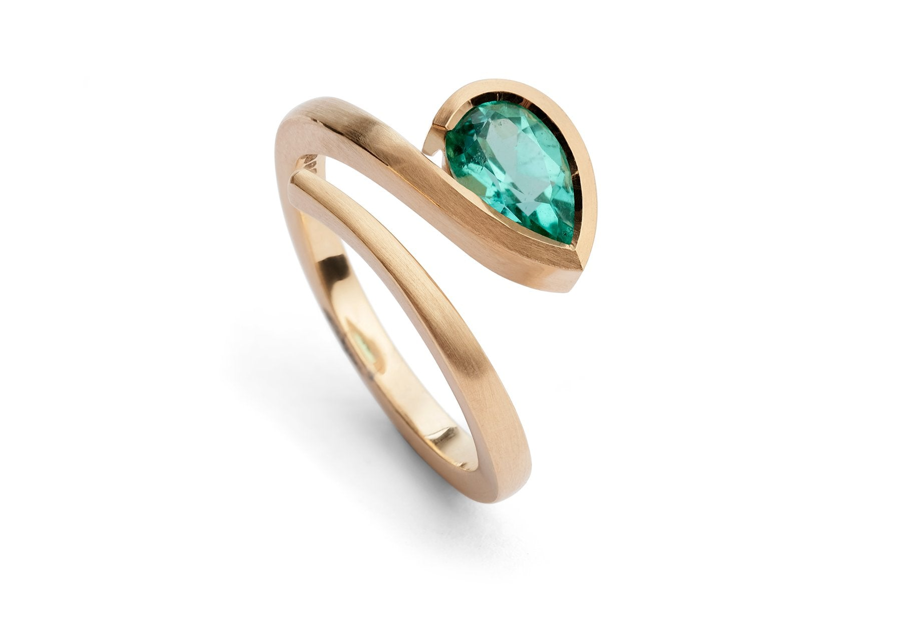 Forged rose gold and pear paraiba tourmaline Twist engagement ring