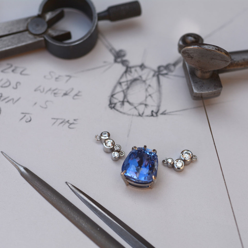 sapphire pendant during the design phase