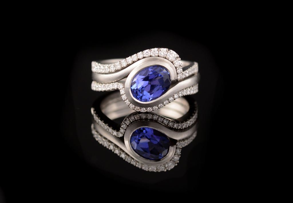 Tanzanite wave with two fitted diamond set bands