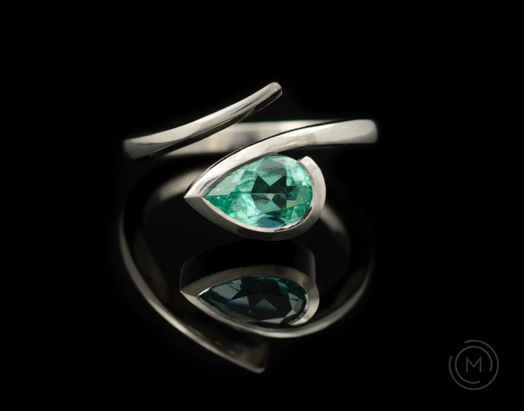 Platinum and pear paraiba tourmaline Twist engagement ring