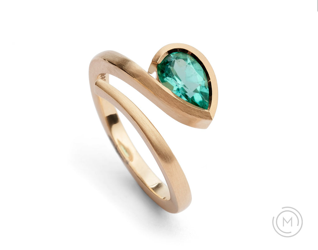 Rose gold and pear paraiba tourmaline Twist engagement ring