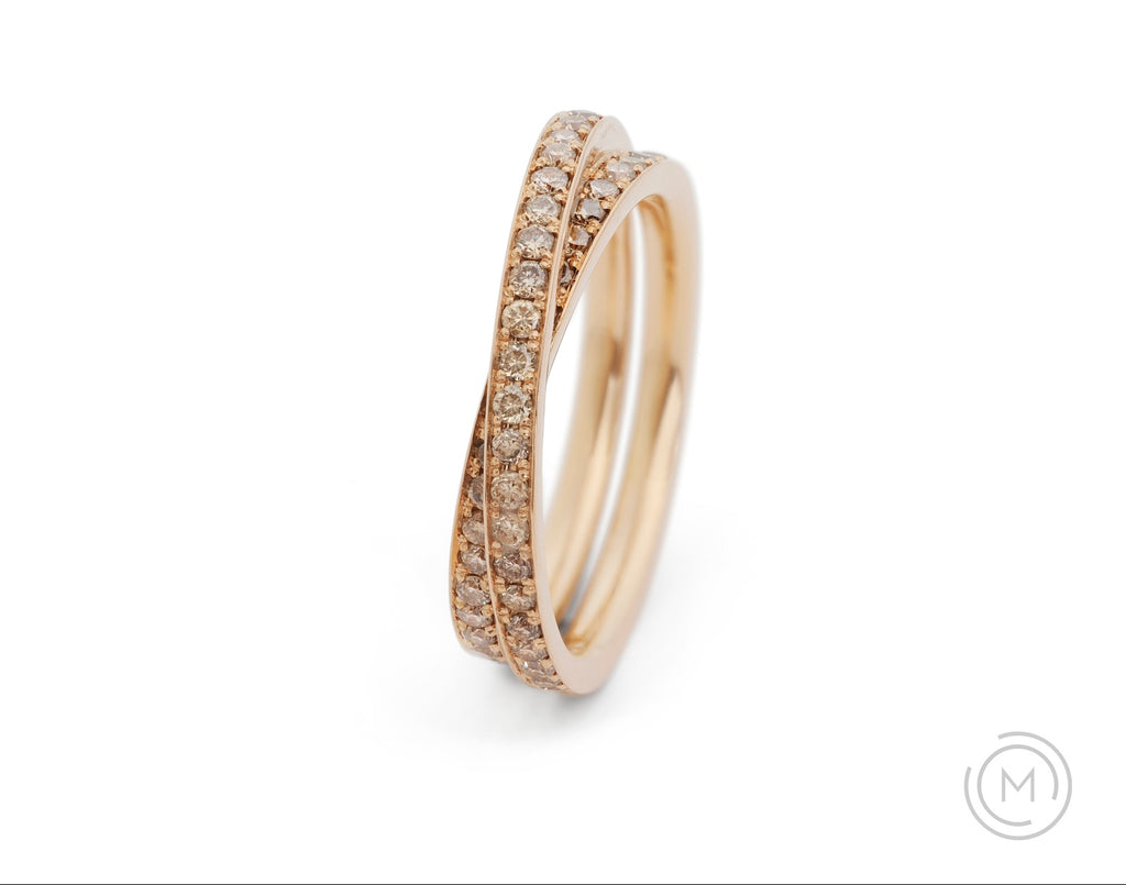 Wrapover rose gold and cognac diamond wedding ring