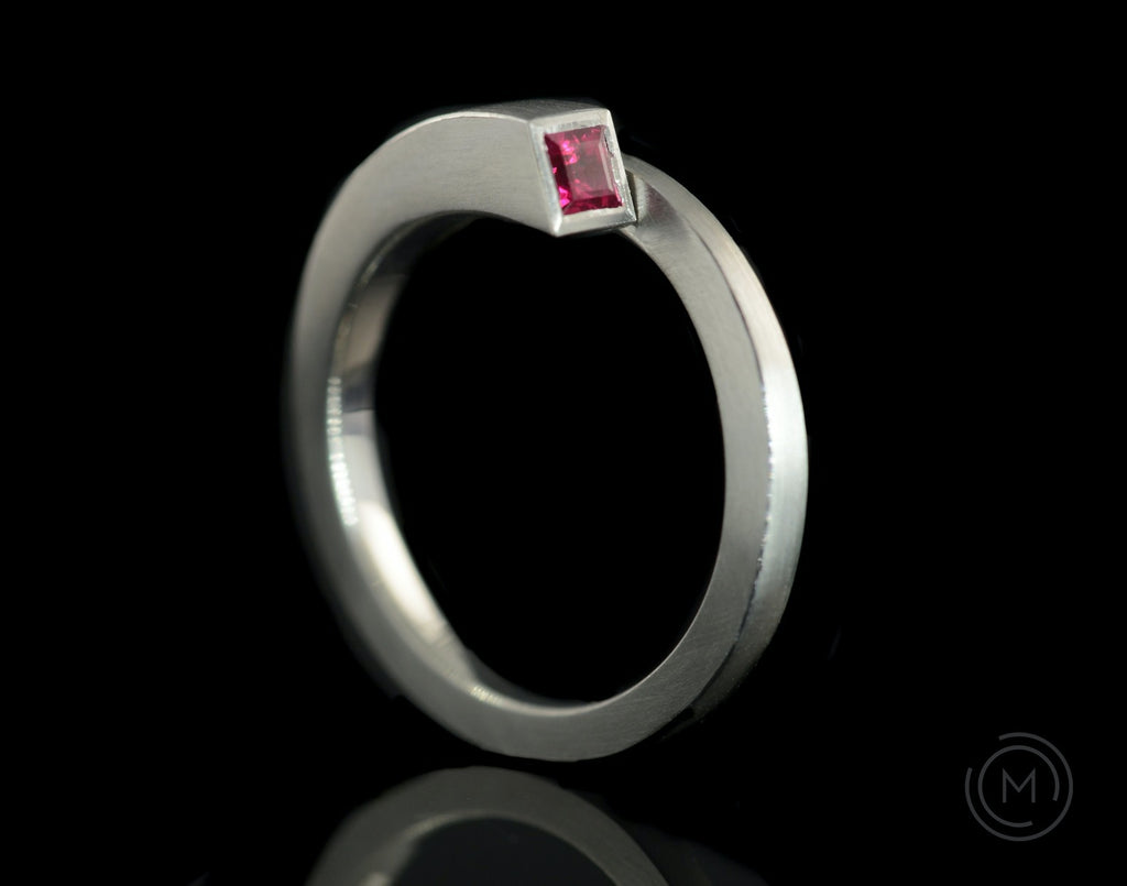 Unusual minimal architectural engagement ring