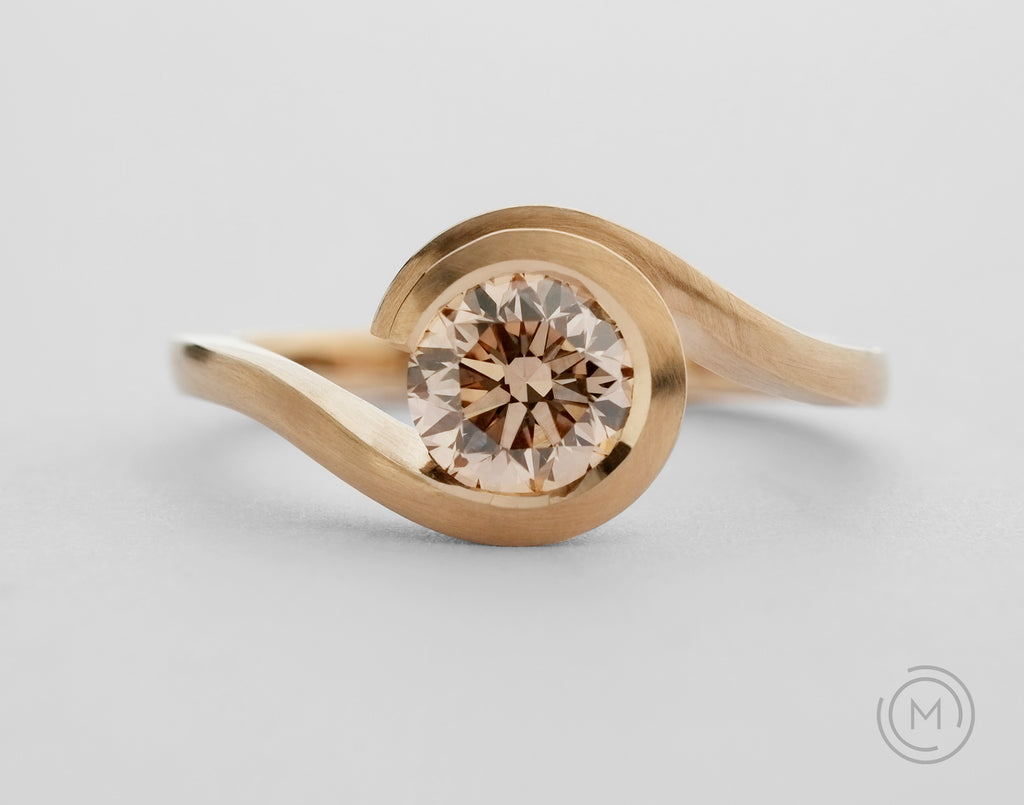 Unusual rose gold 'Wave' engagement ring with cognac coloured diamond