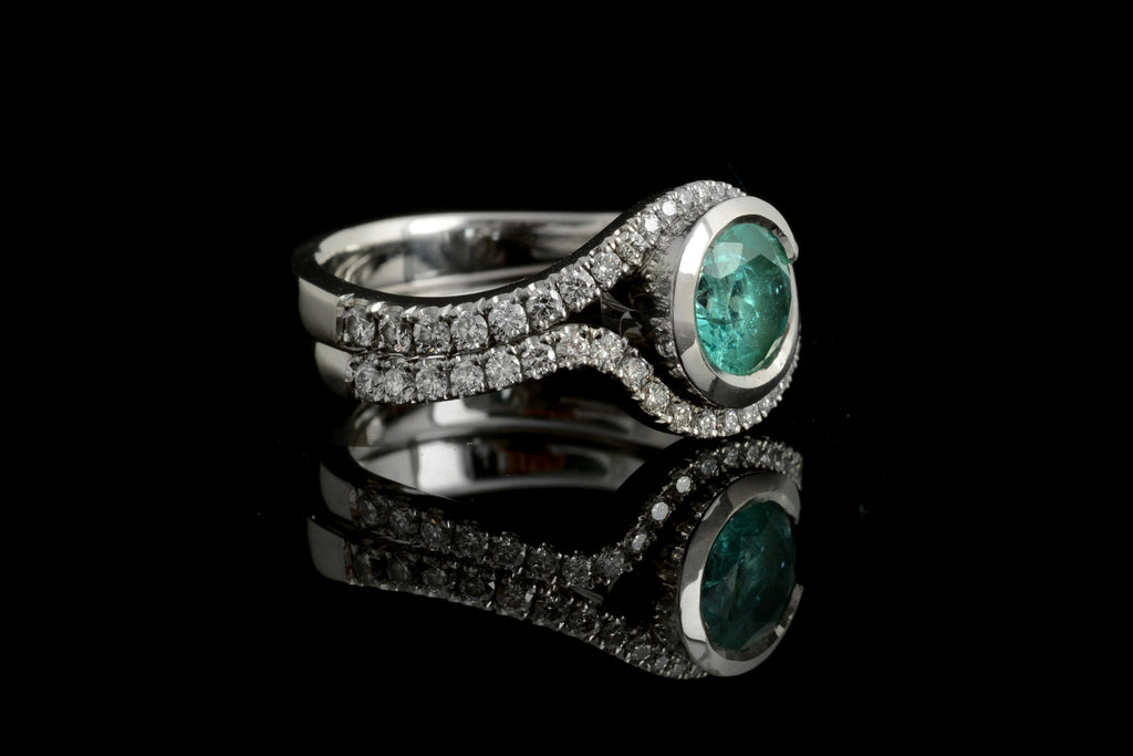 Paraiba tourmaline wave with diamond set wedding band