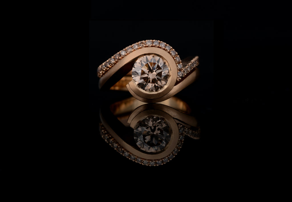 Cognac diamond engagement ring with diamond set band