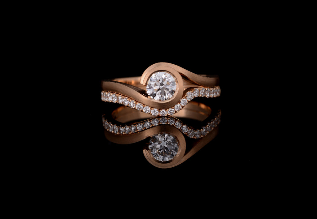 Rose gold wave with white diamond and fitted diamond set band