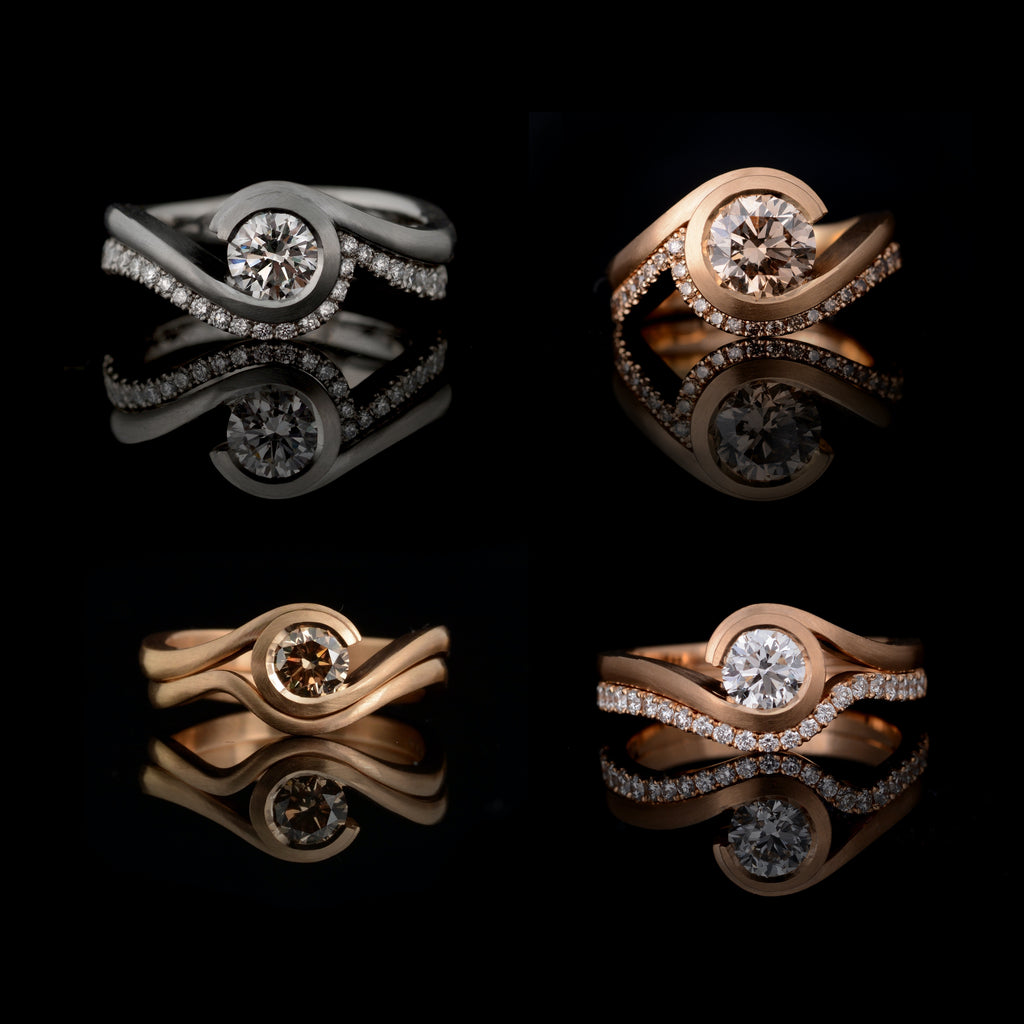 A selection of fitted wedding bands for our popular 'wave' engagement ring.