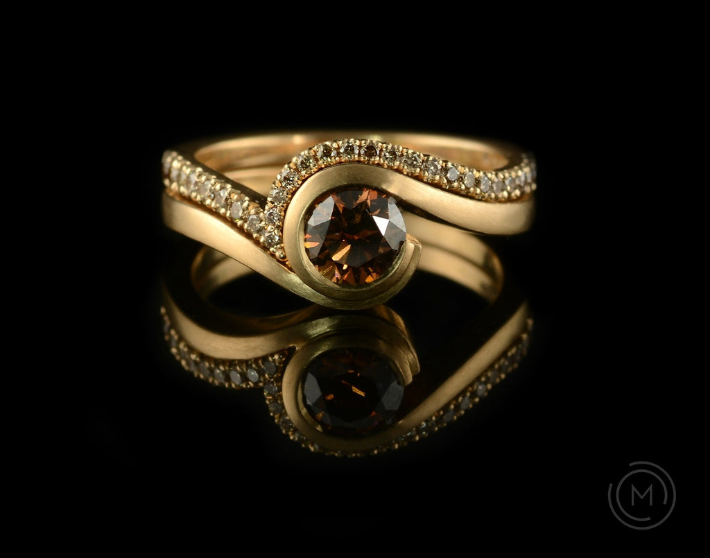 Rose gold and cognac diamond engagement ring with fitted diamond wedding band