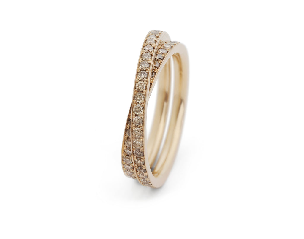 Wrapover all-in-one engagement and wedding ring with pave cognac diamonds