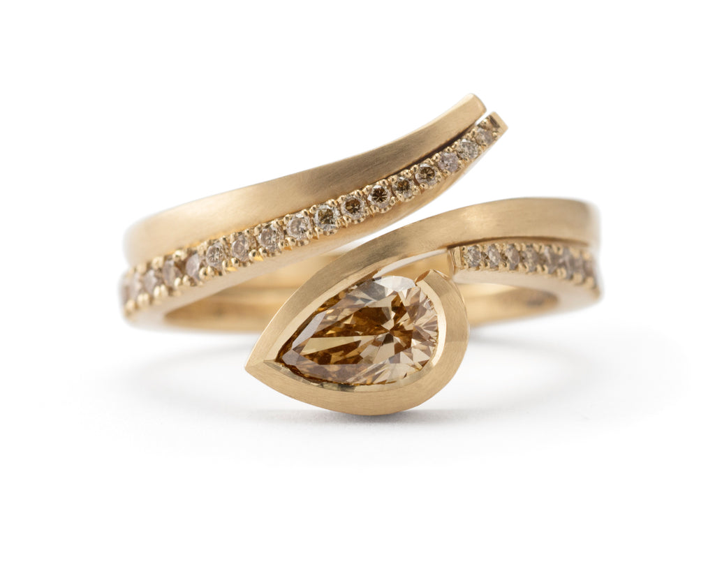 Yellow gold and brown cognac diamond engagement ring with diamond fitted band