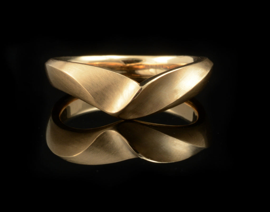 Bespoke rose gold carved, fitted alternative wedding ring with satin finish