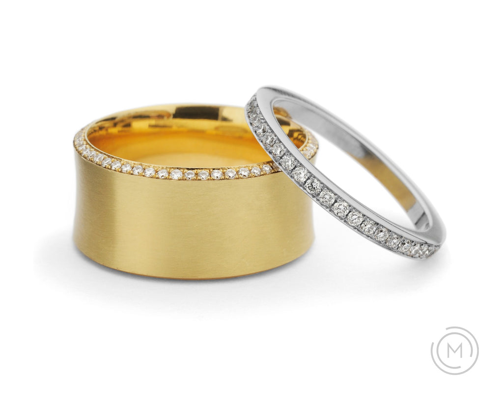 Platinum and yellow gold diamond wedding bands for women