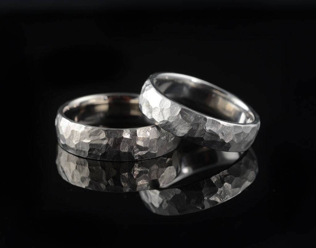 Hammer textured men's wedding bands