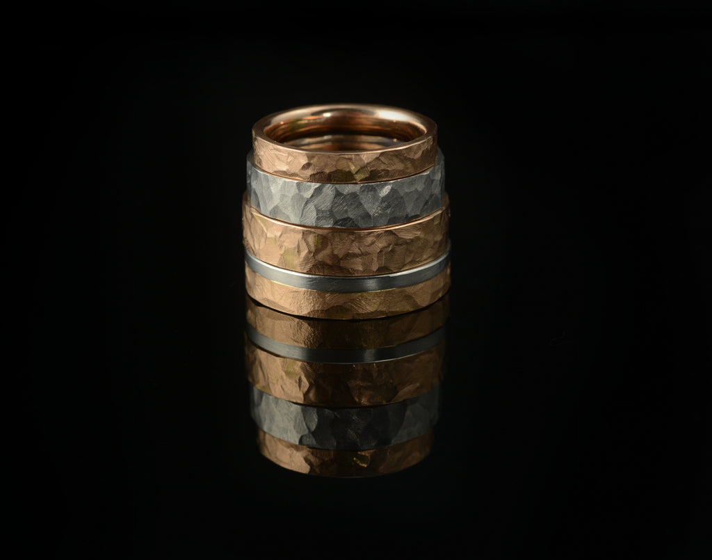Hammered wedding rings custom made in your choice of width