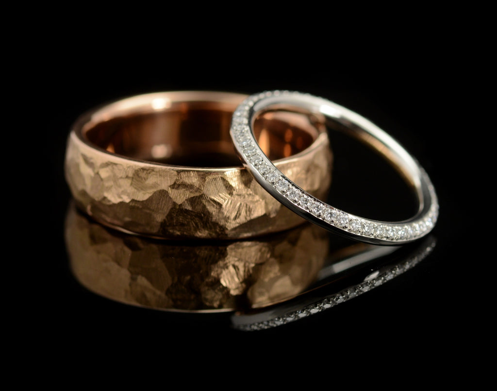 Bespoke hammered gold men's wedding band with diamond wedding ring