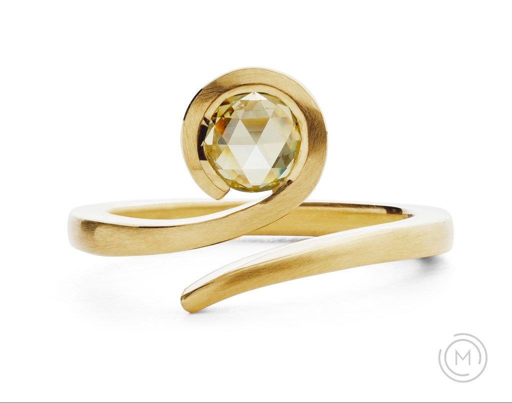 Modern yellow gold 'Twist' engagement ring with rose-cut yellow diamond