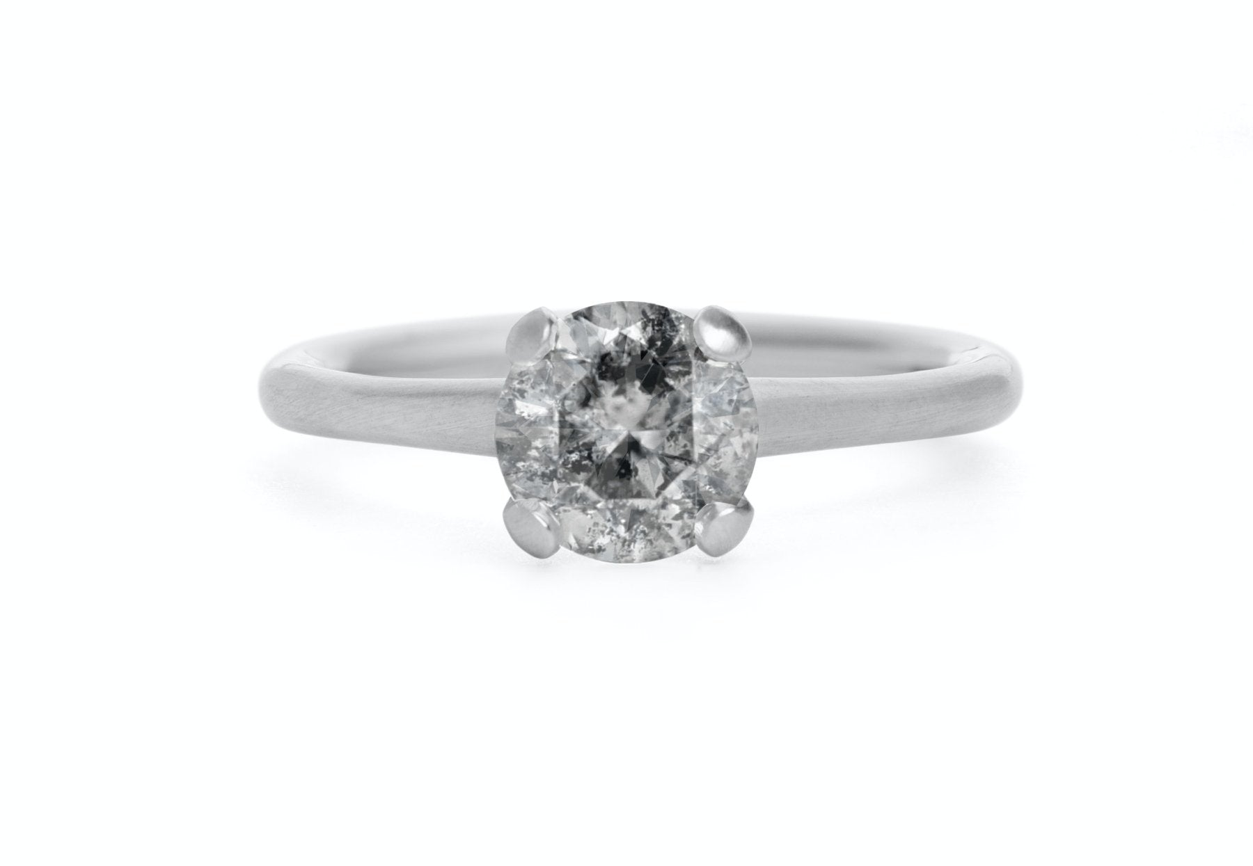 Sculpted platinum 4-claw grey diamond engagement ring