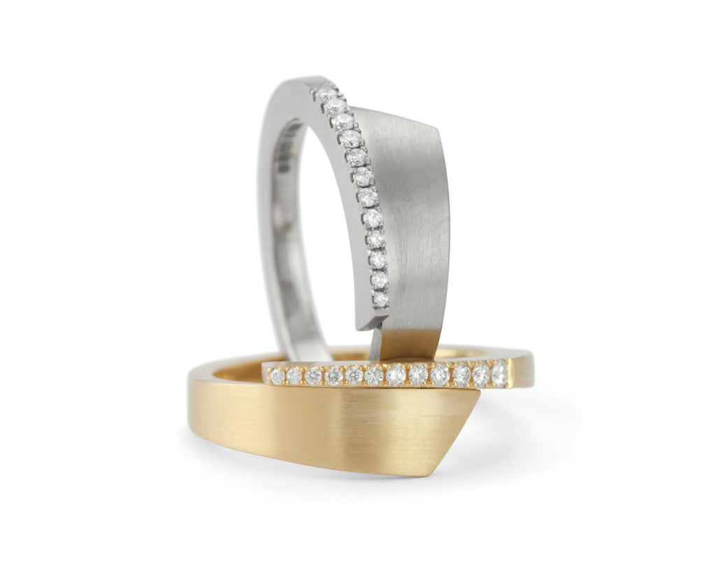 All-in-one gold and diamond engagement and wedding ring