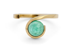 18 carat yellow gold and paraiba tourmaline Twist ring