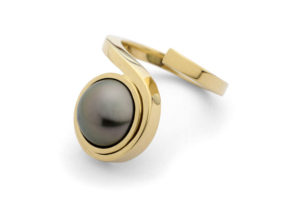 18 carat forged gold ring with tahitian pearl-McCaul