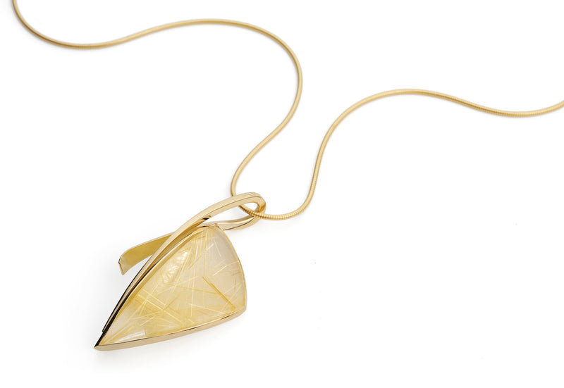18 carat gold and rutilated quartz pendant-McCaul