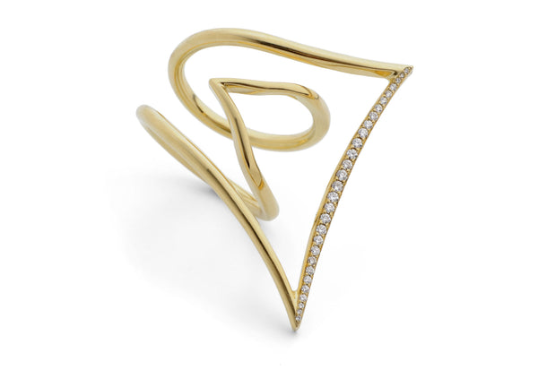 Angular 18ct gold wire pave diamond cocktail ring