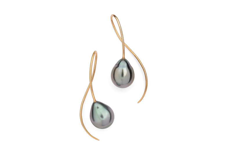 18 carat gold drop earrings with Tahitian black pearls-McCaul