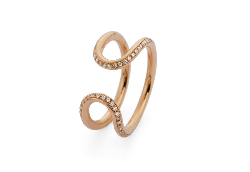 18 carat rose gold pave diamond horseshoe loop ring