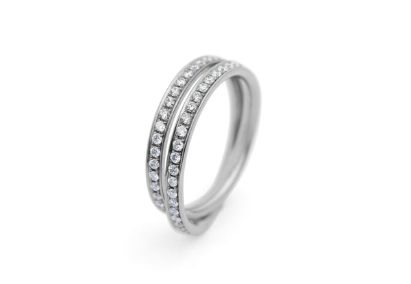 18 carat white and diamond gold double loop eternity band