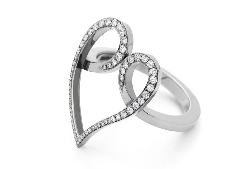18ct white gold and diamond forged heart ring