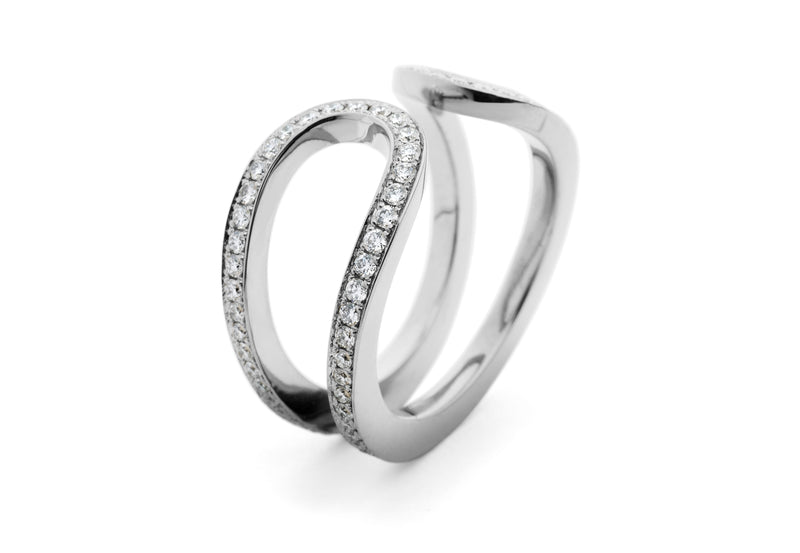 18ct white gold pave diamond open loop ring