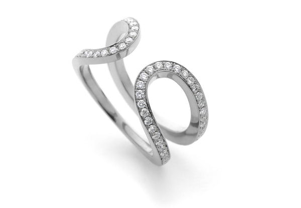 18ct white gold pave diamond horseshoe ring