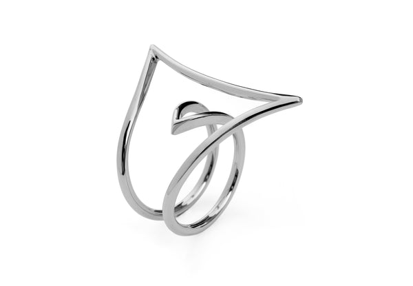 18 carat white gold two finger ring-McCaul