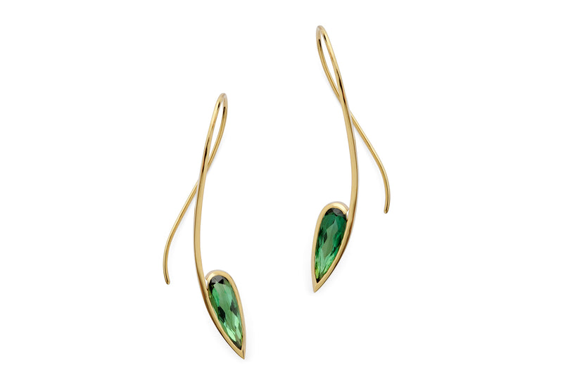 18ct forged gold and green tourmaline earrings-McCaul