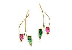 Forged yellow gold earrings with pink and green tourmaline