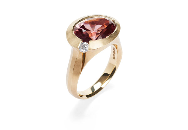 18ct rose gold zircon and diamond Arris cocktail ring