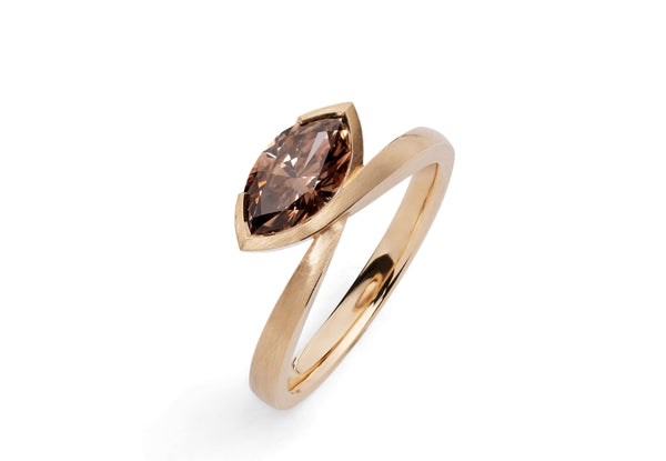 Marquise cognac diamond and rose gold ring