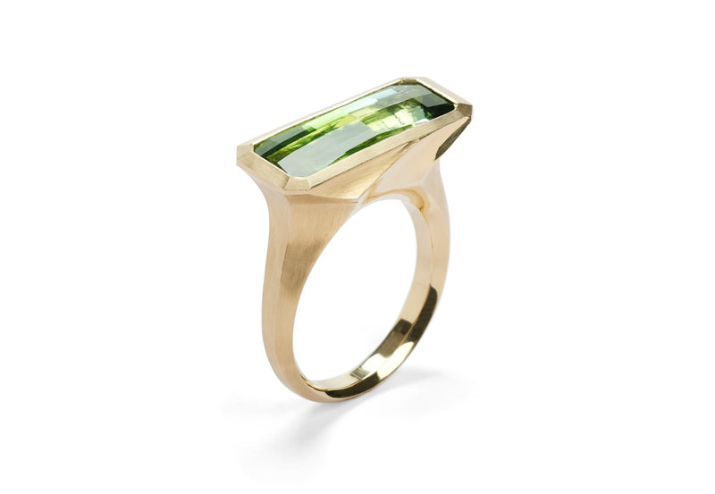 18ct yellow gold and checkerboard green tourmaline Arris ring