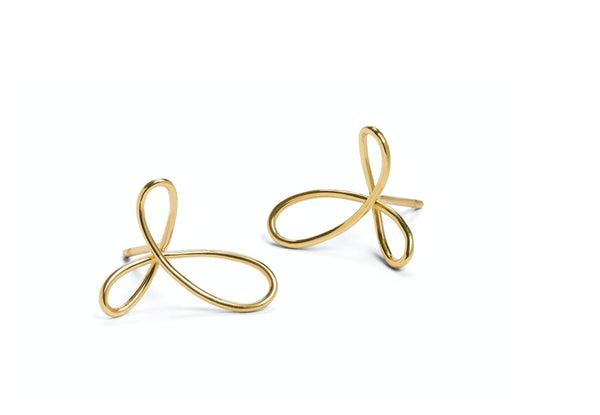 18 carat gold triple loop wire stud earrings-McCaul