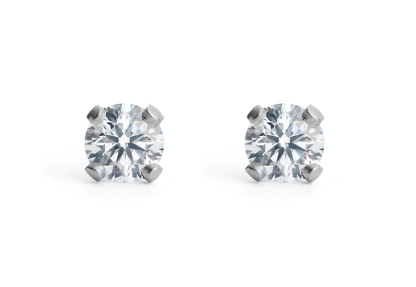 Sculpted Platinum Diamond Ear Studs-McCaul