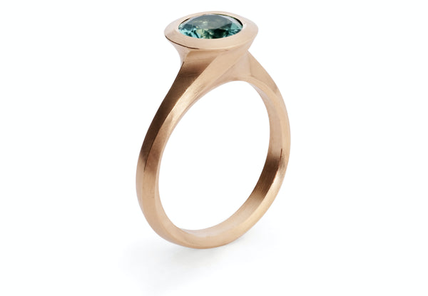 Rose gold Arris ring with seafoam tourmaline